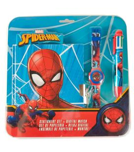 Set reloj digital + boligrafo 6 colores + diario Spiderman Marvel