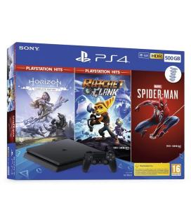 CONSOLA SONY PLAYSTATION 4 SLIM 500GB + HORIZON ZERO DAWN COMPLETE EDITION + RATCHET AND CLANK - MARVEL SPIDER-MAN